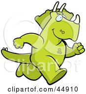 Royalty Free RF Clipart Illustration Of A Running Green Triceratops Character by Cory Thoman