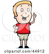 Royalty Free RF Clipart Illustration Of A Blond Caucasian Boy Character With An Idea