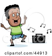 Royalty Free RF Clipart Illustration Of A Dancing African American Boy Character With A Boom Box