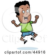 Royalty Free RF Clipart Illustration Of A Jumping Energetic African American Boy Character