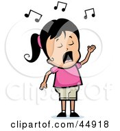 Royalty Free RF Clipart Illustration Of A Singing Hispanic Girl Character by Cory Thoman