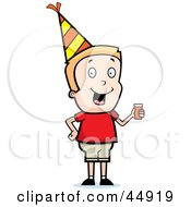 Royalty Free RF Clipart Illustration Of A Blond Caucasian Boy Character Wearing A Party Hat And Drinking Punch