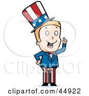 Blond Caucasian Uncle Sam Boy Character In A Patriotic Suit
