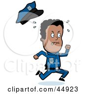 Royalty Free RF Clipart Illustration Of A Sweaty African American Police Officer Toon Guy Running by Cory Thoman