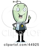 Royalty Free RF Clipart Illustration Of A Smart Green Extraterrestrial Being With An Idea by Cory Thoman