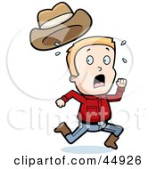 Royalty Free RF Clipart Illustration Of A Sweaty Blond Caucasian Cowboy Boy Character Running by Cory Thoman