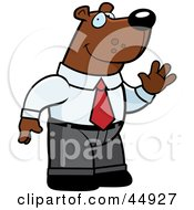 Royalty Free RF Clipart Illustration Of A Friendly Waving Business Bear Character In A Suit