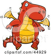 Royalty Free RF Clipart Illustration Of A Friendly Red And Orange Flying Dragon
