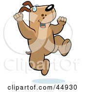 Royalty Free RF Clipart Illustration Of A Jumping Brown Doggy Character