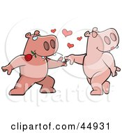 Royalty Free RF Clipart Illustration Of An Amorous Pink Hippo Character Biting A Rose And Dancing With A Female