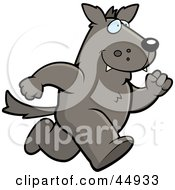 Royalty Free RF Clipart Illustration Of A Running Wolf Character by Cory Thoman