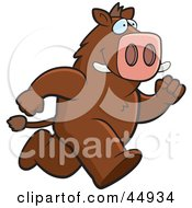 Royalty Free RF Clipart Illustration Of A Brown Boar Character Running by Cory Thoman