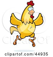 Royalty Free RF Clipart Illustration Of A Crazy Yellow Chicken Running And Flapping Its Wings