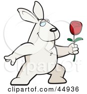 Royalty Free RF Clipart Illustration Of An Amorous White Male Rabbit Presenting A Single Red Rose