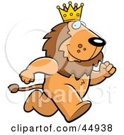 Royalty Free RF Clipart Illustration Of A Running King Lion Character Wearing A Crown by Cory Thoman