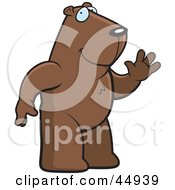 Royalty Free RF Clipart Illustration Of A Friendly Brown Groundhog Standing Upright And Waving by Cory Thoman