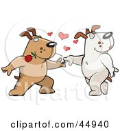 Amorous Brown Doggy Character Biting A Rose And Dancing With A Female