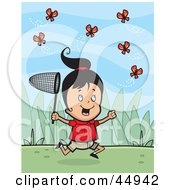 Energetic Little Girl Character Running And Catching Butterflies Outdoors