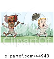 Scared Explorer Kid Running From A Tribal Man With A Spear