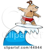 Royalty Free RF Clipart Illustration Of A Surfing Brown Doggy Character Riding A Blue Wave by Cory Thoman