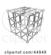 Royalty Free RF Clipart Illustration Of A Silver 3d Cubic Atom