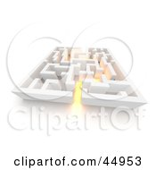 Royalty Free RF Clipart Illustration Of Golden Glowing Light Leading Through A Maze