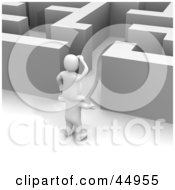 Royalty-free (RF) Clipart Illustration of a 3d Blanco Man Character On The Shoulders Of Another, Peering Into A Maze by Jiri Moucka