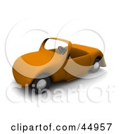 Royalty Free RF Clipart Illustration Of An Orange 3d Convertible Roadster Car