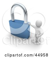 Royalty Free RF Clipart Illustration Of A 3d Blanco Man Character Leaning Against A Giant Blue Padlock