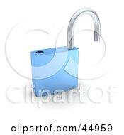 Royalty Free RF Clipart Illustration Of A Blue 3d Padlock Unlocked