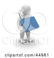 Royalty Free RF Clipart Illustration Of An Insecure 3d Blanco Man Character Wearing A Blue Padlock Around His Neck