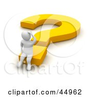 Royalty Free RF Clipart Illustration Of A Discombobulated 3d Blanco Man Character Sitting On A Yellow Question Mark