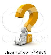 Royalty Free RF Clipart Illustration Of A Discombobulated 3d Blanco Man Character Leaning Against A Yellow Question Mark by Jiri Moucka