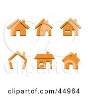 Royalty Free RF Clipart Illustration Of A Digital Collage Of Orange Home Shaped Icons