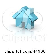 Royalty Free RF Clipart Illustration Of A Shiny Blue 3d Home by Jiri Moucka