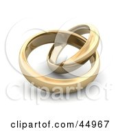 Royalty Free RF Clipart Illustration Of Two Entwined Golden Wedding Or Engagement Bands