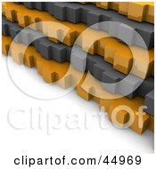 Royalty Free RF Clipart Illustration Of Gray And Orange 3d Stacked Gears by Jiri Moucka