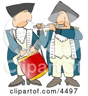 American Revolutionary War Drummer And Flute Player Clipart by djart