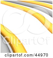 Royalty Free RF Clipart Illustration Of Gray And Yellow 3d Cables Curving On A White Background by Jiri Moucka