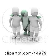 Royalty Free RF Clipart Illustration Of Two 3d Blanco Man Characters Assisting An Intoxicated Green Guy