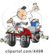 Drunk Man Sitting On A Four Wheeled All Terrain Vehicle ATV Clipart