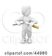 Royalty Free RF Clipart Illustration Of A 3d Blanco Man Character Breaking A Cigarette In Half by Jiri Moucka