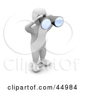 Royalty Free RF Clipart Illustration Of A 3d Blanco Man Character Spying Through Binoculars by Jiri Moucka