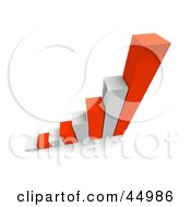 Royalty Free RF Clipart Illustration Of A Bar Graph Of White And Red 3d Columns by Jiri Moucka