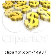 Golden 3d Dollar Symbols Laying Flat