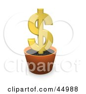 Royalty Free RF Clipart Illustration Of A 3d Potted Dollar Sign Plant With A Golden Bloom