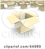 Royalty Free RF Clipart Illustration Of Light 3d Open Cardboard Moving Boxes