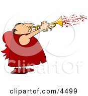 Man Wearing Valentine Cupid Costume And Blowing Love Hearts From A Trumpet Clipart by djart