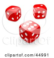 Royalty Free RF Clipart Illustration Of Three Red 3d Rolling Casino Dice