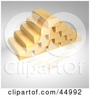 Royalty Free RF Clipart Illustration Of A Pyramid Of Stacked Golden Bricks
